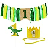 ZITA ELEMENT 1st Birthday Decorations for Boy and Girl/Baby Birthday Party Supplies, Banner+Crown+Cake Topper in Green