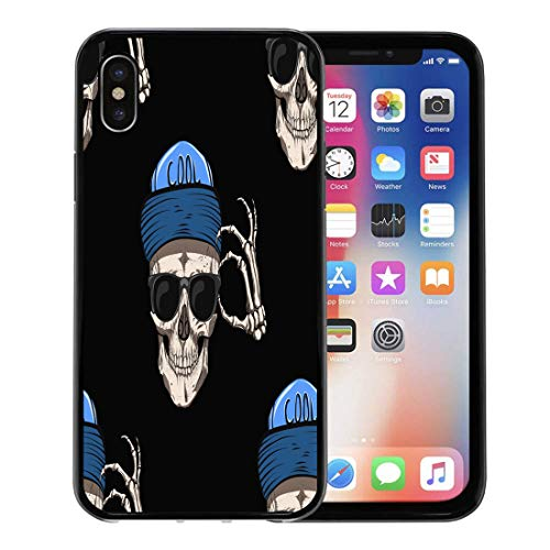 Semtomn Phone Case for Apple iPhone Xs case,Pattern Skull Glasses and Blue Cap Gothic Metal Black Bone Cranial for iPhone X Case,Rubber Border Protective Case,Black]()