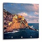 3dRose Italy, Manarola, Cliff Houses, Cinque Terra – Eu16 Rer0083 – Ric Ergenbright – Wall Clock, 13 by 13-Inch (dpp_82183_2)