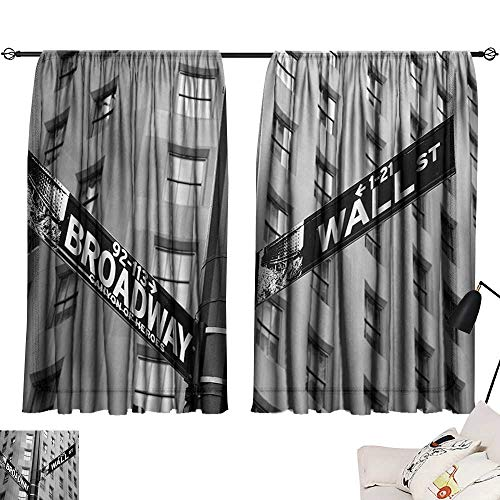 Davishouse New York Sliding Curtains Street Signs of Intersection of Wall Street and Broadway Finance Destinations Darkening and Thermal ()