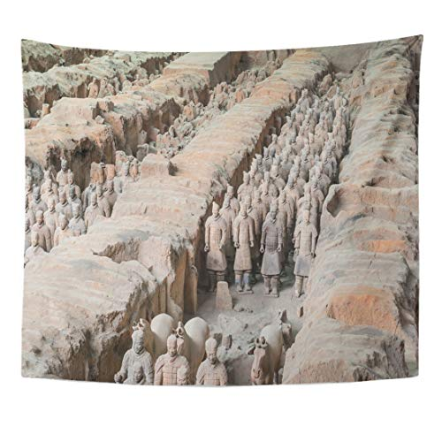 Semtomn Tapestry Xian Shaanxi Province China Aug The Terracotta Army at Home Decor Wall Hanging for Living Room Bedroom Dorm 50x60 Inches