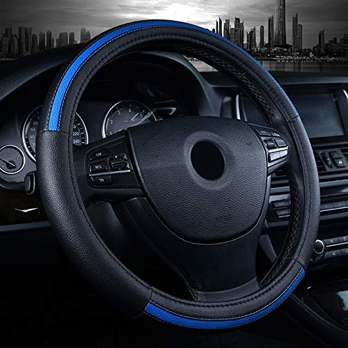 Labbyway Car Steering Wheel Cover Microfiber Leather Universal 15-inch,Anti-Slip,Odorless,Four Seasons Universal (Blue) (2018 Mustang Gt Wheels)