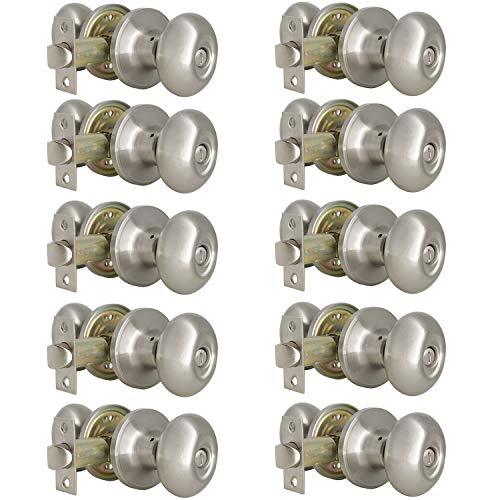 Probrico Egg Style Bedroom and Bathroom Privacy Door Knobs Oval Brushed Nickel Keyless Door Lock(10 Pack) ()