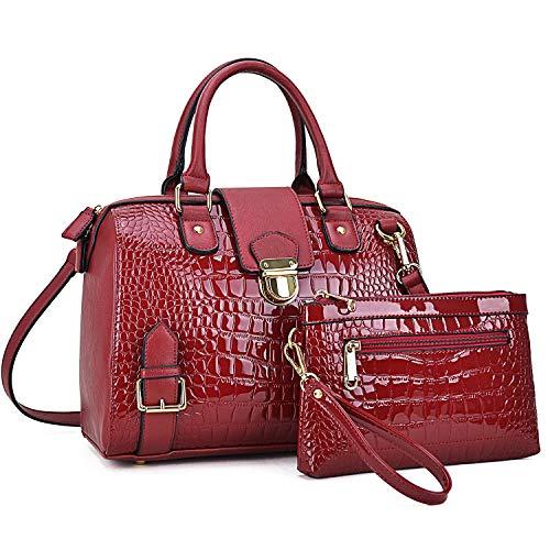 (Dasein Women Barrel Handbags Purses Fashion Satchel Bags Top Handle Shoulder Bags Vegan Leather Work Bag Red )