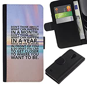 KingStore / Leather Etui en cuir / Samsung Galaxy S4 IV I9500 / Coucher du soleil texte