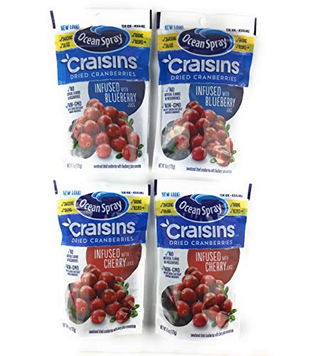 - Ocean Spray Craisins Variety Pack 2 Blueberry And 2 Cherry Juice Infused Dried Cranberries
