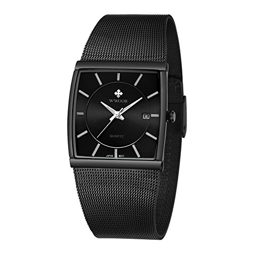 Wwoor Stainless Steel Mesh Band Analog Quartz Date Dress Watch Waterproof Luminous Square Watches Black Date Black Watch