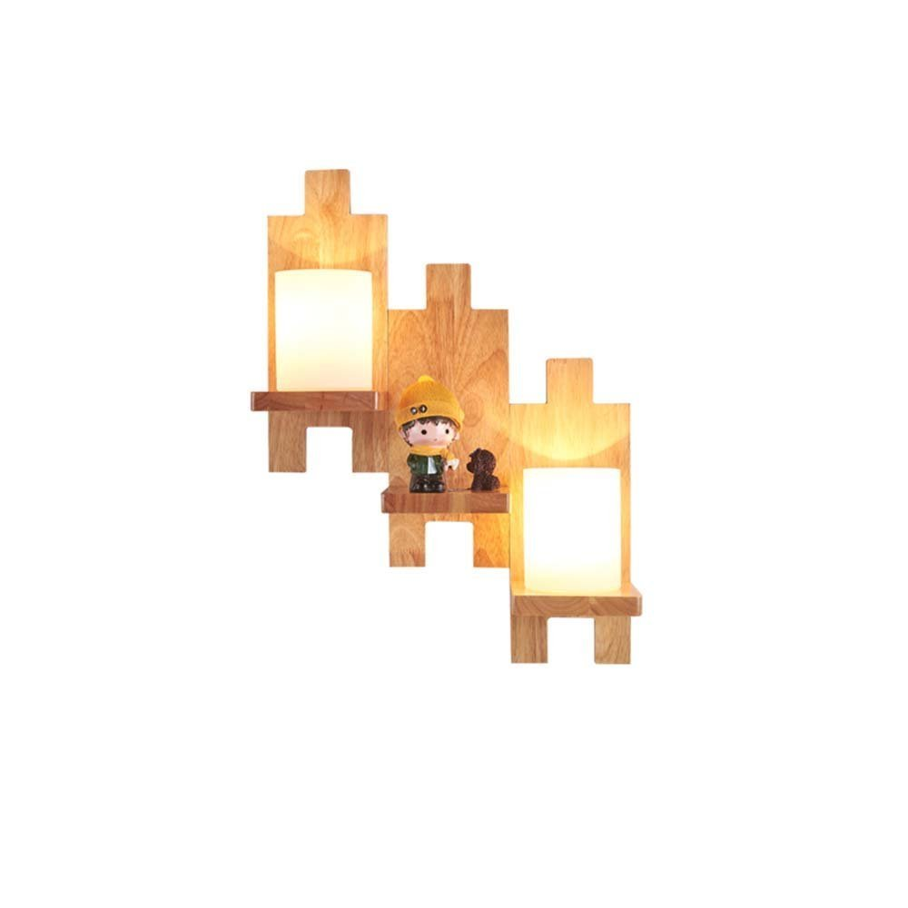 HOMEE Wall lamp- simple creative wooden puzzle wall lamp bedroom aisle wall lamp (style optional) --wall lighting decorations,3-head