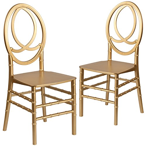 Flash Furniture 2 Pk. HERCULES Series Gold Resin Stacking Phoenix Chair