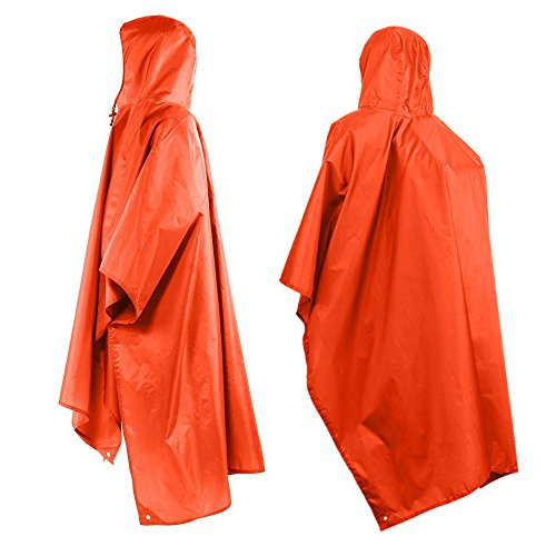 Tsonmall Rain Poncho Waterproof Raincoat with Hoods Multifunctional Tarp for Outdoor Camping Cycling - 12 Walk Out Jacket
