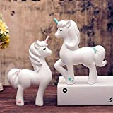 JUNIQUTE Unicorn Statue 2pcs, Little Girls Unicorn Figurines, Best for Decoration Home and in Garden, for Birthday, Monther's Day, Thanksgiving Day, Christmas Day and Graduation.