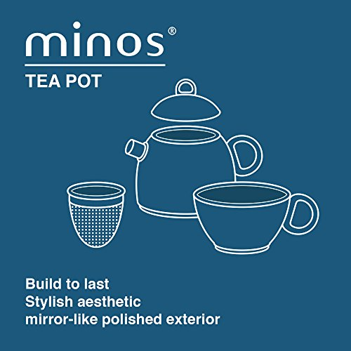 Minos Stunning Stainless Steel Teapot And Cup For One Set With Silicon Handle - 8.5 OZ Liquid Capacity - Hand-polished, Scratch, Wear and Tear Resistant Best for Serving Tea and Coffee by Minos (Image #3)