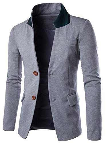 [Verescha Mens Vintage Blazer Casual Business Suit Slim Fit Jacket Light GrayUS Large-(China] (Morph Suite)