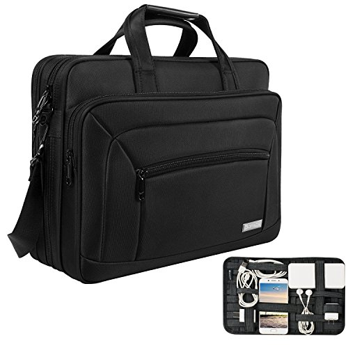 kopack Expandable Laptop Briefcase Large 17 17.3 Inch Messenger Bag Water Resistant Scratch-resistant Nylon Multi-functional Computer Bag Shoulder Bag Men