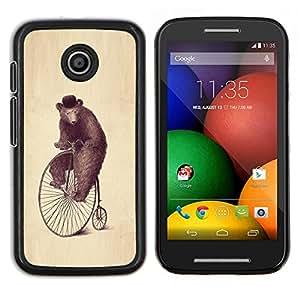 Caucho caso de Shell duro de la cubierta de accesorios de protección BY RAYDREAMMM - Motorola Moto E - Arte Oso Rueda Dibujo Acuarela Lápiz Sombrero
