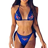 Bathing Suits for Women, Floral Two Piece Bikini Swimsuit High Waisted Push Up Halter Tie Bow Knot Ruffle Flounce Crop Top Lace Cut Out Bottom Strap Adjustable Padding Cup Pool Swim Sexy (S, Blue)
