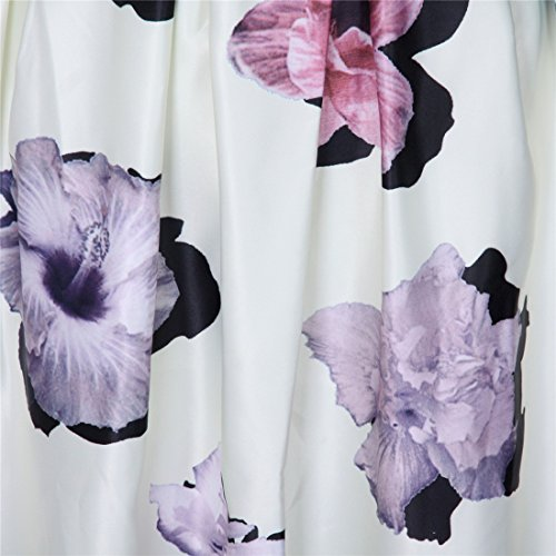 Mujer Elegante Floral Impresa Alta Cintura Plisada Midi Dia De Fiesta Retro Faldas Jupe Blanco