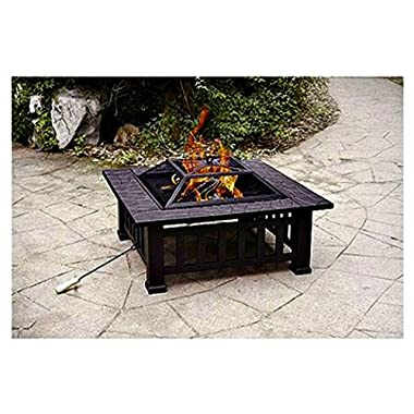 Patio Fire Pit with Cover. 32 Inch Backyard Fireplace Makes a Great Outdoor Heater for Your Deck or Patio Furniture.