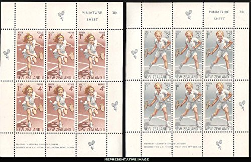 Price comparison product image New Zealand Scott B85a, B86a 3c+1c Boy Playing Tennis and 4c+1c Girl Playing Tennis 1972 Health Semi-Postal Se-tenant Miniature Sheets of six. Mint never hinged.