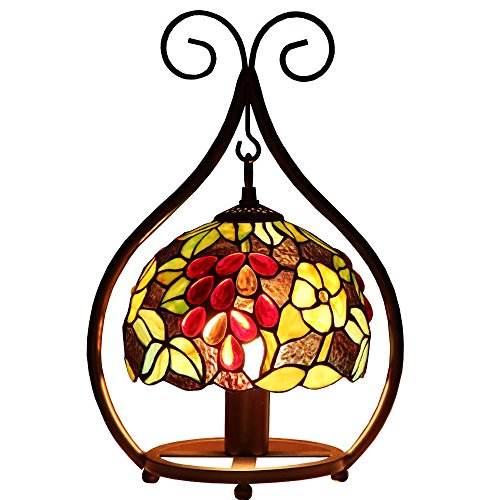 (Bieye L10528 8-inches Grapes Tiffany Style Stained Glass Hanging Shade Table Lamp with Cast Iron Base, 16-inches Tall (Multi-Colored)