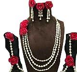 Floret Jewellery Designer Red Rose Flower Jewellery Set With 2 Earrings, Bracelets, And Maang Tika (6 Items) For Women & Girls (Mehandi/Haldi/Wedding/Bride)