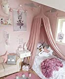 Wilhunter Kids Bed Canopy Princess Castle Mosquito Netting Girls Bed Curtain Hanging Round Dome Tent for Children's Reading Nook Indoor Outdoor Games Cotton Canvas Pink (Pink)