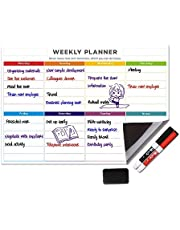 UCMD Weekly Whiteboard Calendar Magnetic Dry Erase Weekly Planner Message Board for Fridge (Colorful)