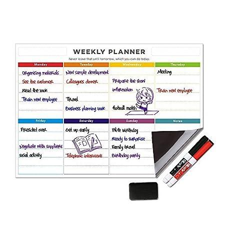 UCMD Weekly Whiteboard Calendar Magnetic Dry Erase Weekly Planner Message Board for Fridge (Colorful) U&U