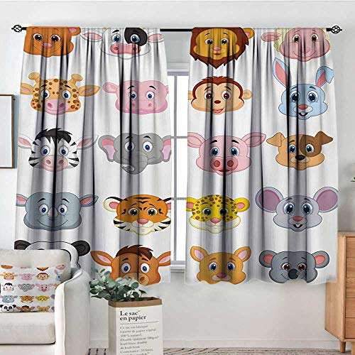 Print Pattern Curtains Cartoon,Kids Themed Baby Cute Animals Lions Pigs Cows Farm Safari Baby Nursery Room Image,Multicolor,for Room Darkening Panels for Living Room, Bedroom 63