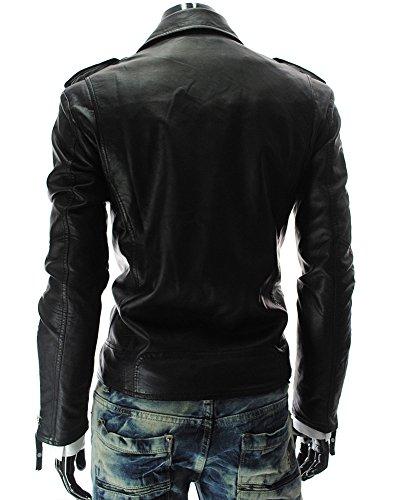 Vêtements Imitation Motocyclettes Homme Vintage Manteau Fit Slim D'extérieur Veste Jacket Noir Cuir Biker vqw8T5wx