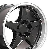 17x11 Wheel Fits Corvette, Camaro - ZR1 Style Black Rim w/Mach'd Lip - REAR FITMENT ONLY