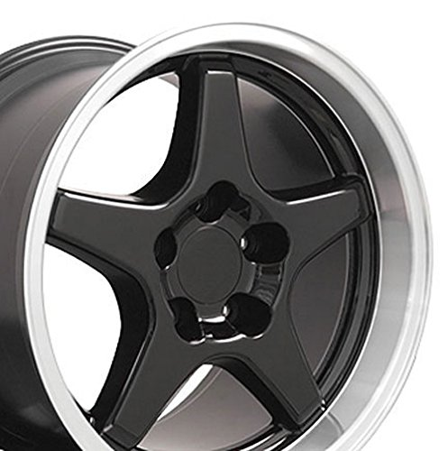 17×11/17×9.5 Wheels Fit Corvette, Camaro – ZR1 Style Black Rims – Staggered SET