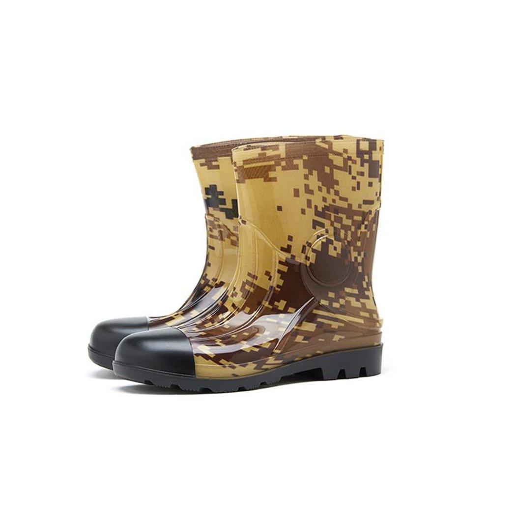 VENI MASEE Latest Fashionable Stylish Glitter Men Camouflage Rain Shoes Skidproof/Waterproof Rainy Day/Garden Work/Outdoor Activities Add Plush Lining
