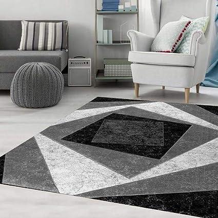 Teppich-Home Tappeto Design Moderno Quadri Design Modello in Grigio ...