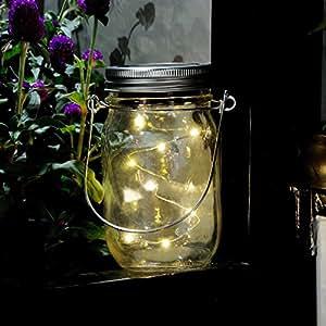 20 LED Solar Powered Mason Jar Lights,Mason Jar Solar Light for Glass Mason Jars,Decorative Outdoor Hanging Lamp,Garden Outdoor Solar Lanterns,Hanging Lantern for Party Garden Wedding(Warm White)