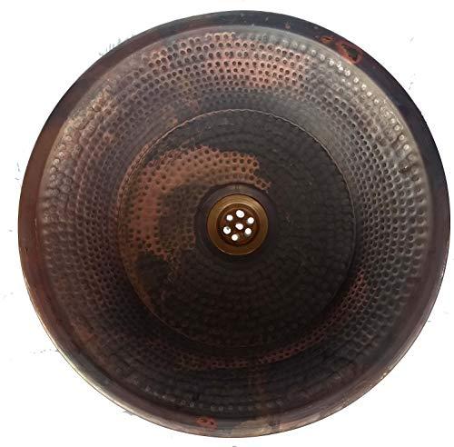 (Fired Rustic Vessel Copper Bathroom Pan Wash Basin)