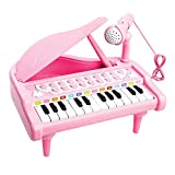 24 Keys Piano Keyboard Toy for Kids Pink Electronic Musical Multifunctional Instruments with Microphone …