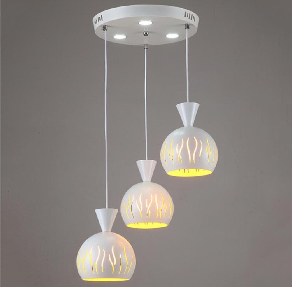 GL&G Modern Style Light Iron Chandelier Pendent Light for Hallway,Bedroom,Kitchen,Kids Room, LED Bulb Included, Warm White Light,3pcs,1520cm