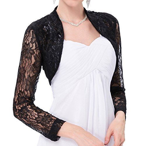 Belle Poque Womens Lace Shrug Jacket Long Sleeve Bridal Cardigan Bolero