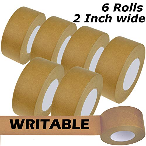 Star Brand Writable Kraft Flatback Paper Tape Covering up Writing and Markings on Reused Boxes | Ultra-Sticky Kraft Packaging Tape Sealing Cartons ... (2 Inch x 60 Yards x 6 Rolls, Kraft)