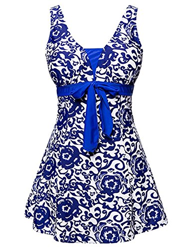 JOYMODE-Womens-Plus-Size-Vintage-High-Waist-Polka-Dot-Swimsuit-Tankini-Size-4XL-Royal-Blue