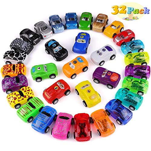(FittiDoll Pull Back Cars, 32 Pack Pull Back Racing Vehicles Mini Car Toys for Kids)