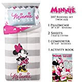 Minnie Mouse Bedding Set Twin Size - Limited Edition 2017 Bundle - Comforter, Bed Sheet, Pilowcase - Christmas Girl Gift
