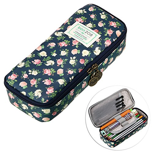 BTSKY Cute Pencil Case - High Capacity Floral Pencil Pouch Stationery Organizer Multifunction Cosmetic Makeup Bag, Perfect Holder for Pencils and Pens -