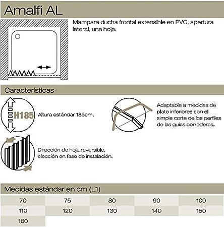 Mampara de Ducha frontal en PVC, una hoja, 100 cm: Amazon.es: Hogar