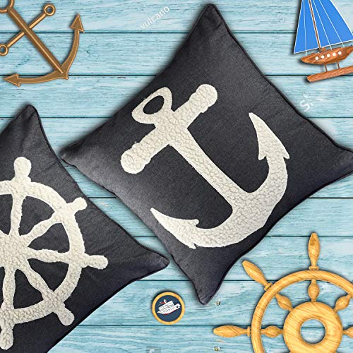 Resvina Pillow Covers 2 Pack Nautical Throw Pillows Anchor Blue Decorative Cushion Cover Pillowcases 18