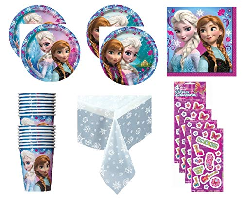 Disney Frozen Princess Birthday Party Supply Bundle for 16 includes Plates, Cups, Napkins, Snowflake Table Cover, Stickers ()