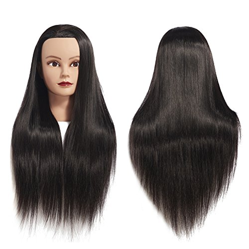 "Price comparison product image 26""-28"" Mannequin Head Hair Styling Training Head Manikin Cosmetology Doll Head Synthetic Fiber Hair Hairdressing training model with free clamp (Black)"
