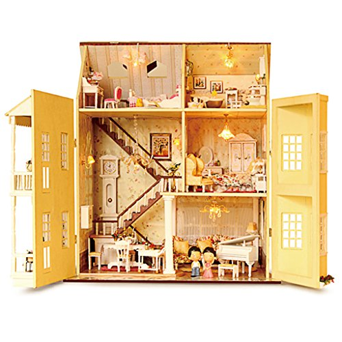 Rylai Wooden Handmade Dollhouse Miniature DIY Kit -Fairy Tale Home Series Large Villa & dollhouses with Furniture/Accessories and Dollhouses Kits( 1:24 Scale Dollhouse) - Big Doll Furniture
