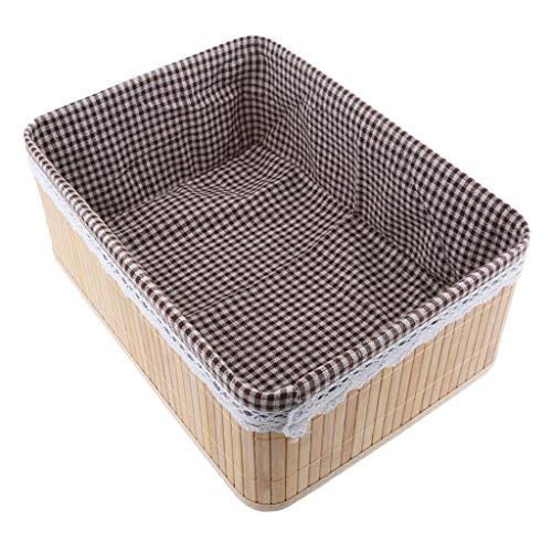 MOPOLIS Handmade Bamboo Weaving Storage Basket Snacks Toy Organizer for Home Grocery   Size - 36x26x14cm